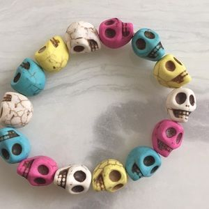 Natural Stone Age Multicolor Sculls Bracelet